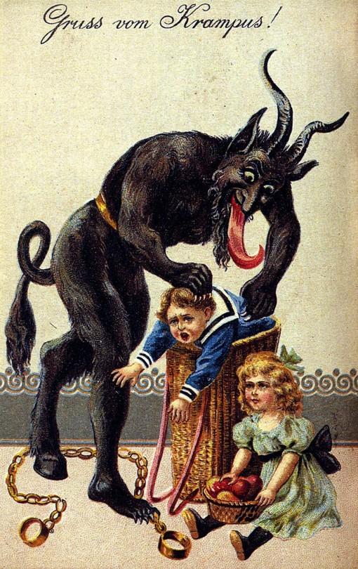stara pocztówka przedstawiająca rogatego potwora przypominającego diabła, który wkłada dzieci do worka